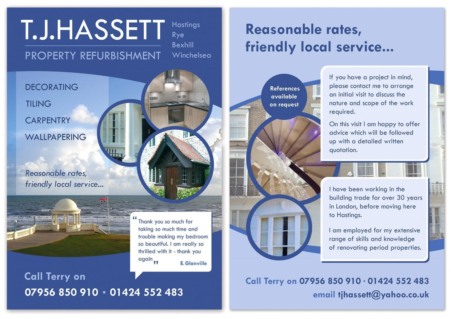 A5 flyer for T.J.Hassett